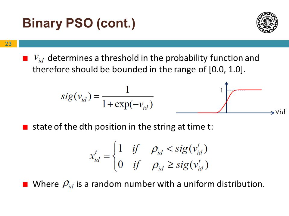 Binary PSO (cont.) determines a threshold in the probability function and therefore should be bounded in the range of [0.0, 1.0].